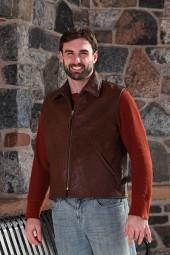 Men's Brown Leather Slender-Style Vest