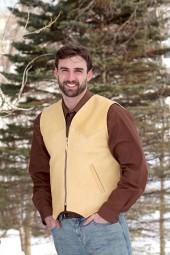 Men's Natural Deer Leather Slender-Style Vest