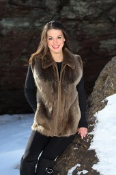 Women's beaver vest with plucked sheared beaver accents