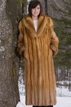 Premium Red Fox Fur Coat