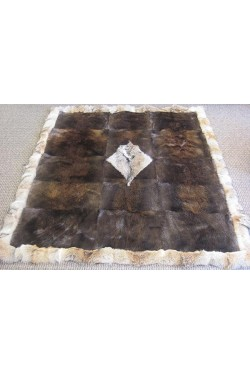Beaver Bed Spread with Coyote Trim & center design - Queen size
