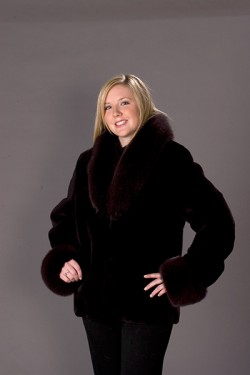 Plucked sheared and dyed plum beaver jacket with fox collar and cuffs