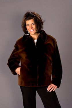 Plucked, sheared, and dyed maple beaver jacket
