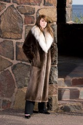 Plucked and sheared beaver coat with Lynx collar