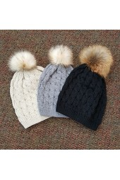 Knit Hat with Fur Pom