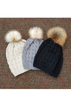 Knit Hat with Fur Pom