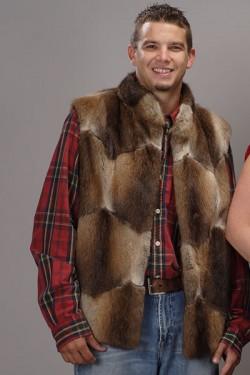 """Premium Men's 26"""" Muskrat Fur Vest"""